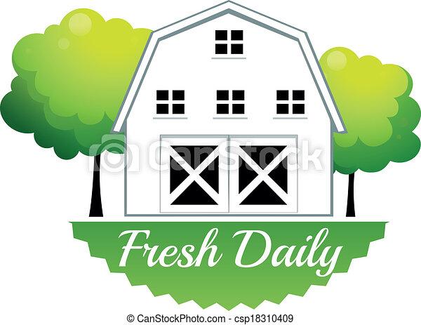 fresco, celeiro, diariamente, etiqueta - csp18310409