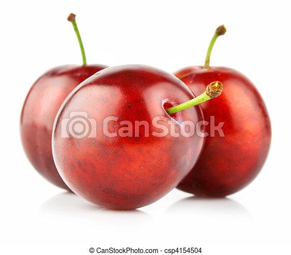Frutas de ciruela frescas aisladas en blanco - csp4154504