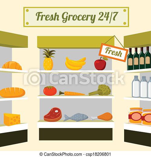 fresco, drogheria, cibi, negozio, mensole - csp18206801