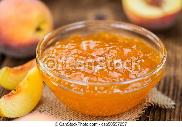 fresco, feito, geleia, pêssego - csp50557257