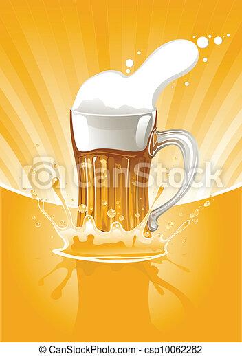 fresco, tazza, pieno, birra - csp10062282
