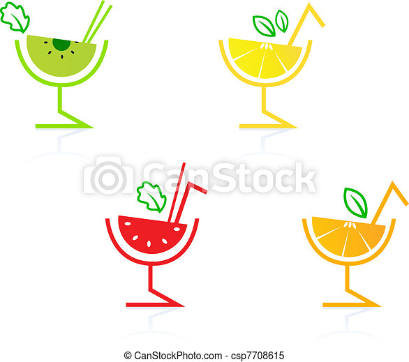 Fresh and colorful fruity drinks collection isolated on white   - csp7708615