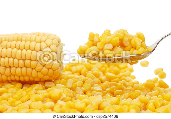 Fresh and tinned corn on a spoon - csp2574406