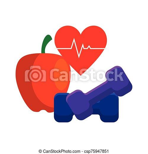 fresh apple with set icons gym - csp75947851