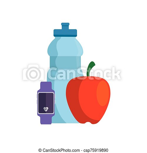 fresh apple with set icons gym - csp75919890