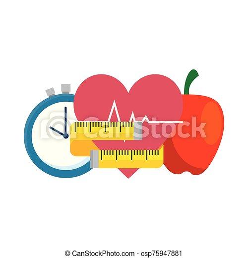 fresh apple with set icons gym - csp75947881