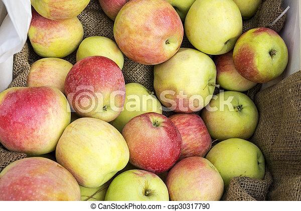 Fresh apples in a box - csp30317790