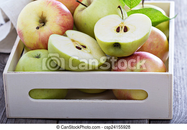 Fresh apples in a wooden box - csp24155928