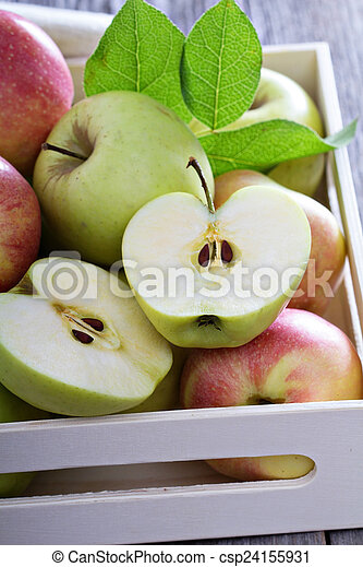 Fresh apples in a wooden box - csp24155931