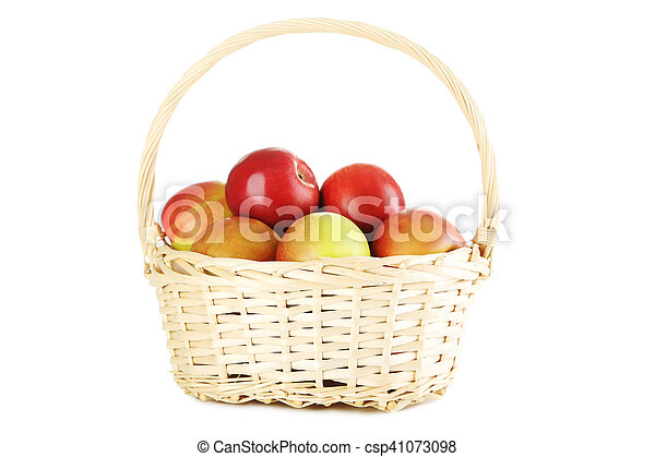 Fresh apples in basket isolated on a white - csp41073098