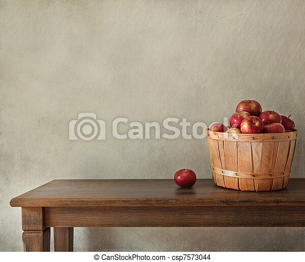 Fresh apples on wooden table - csp7573044