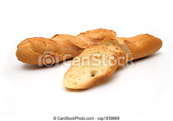 Fresh baguette, sliced, isolated on white background - csp1839869