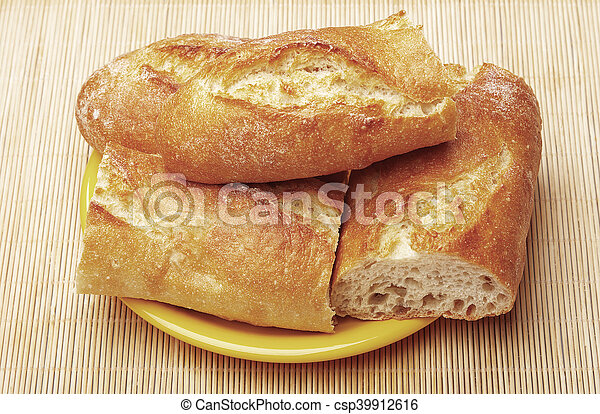 Fresh Baguette Sliced White Bread French Closeup