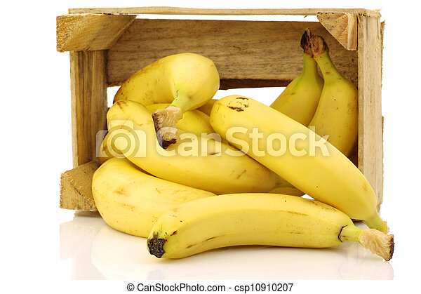fresh bananas in a wooden crate - csp10910207