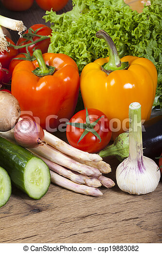 Fresh bell peppers and other vegetables - csp19883082