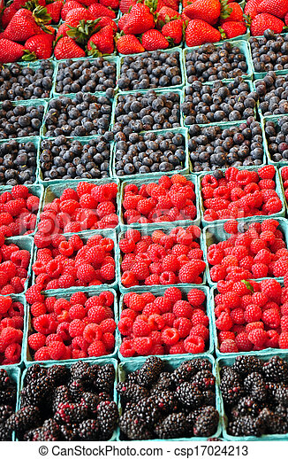 Fresh berries at market - csp17024213