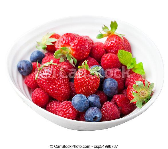 Fresh berries, blueberry, strawberry, raspberry - csp54998787