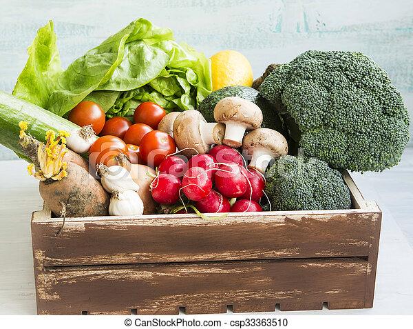 Fresh bio vegetables in wooden crate with radish, salad, mushrooms, broccoli, tomatoes - csp33363510