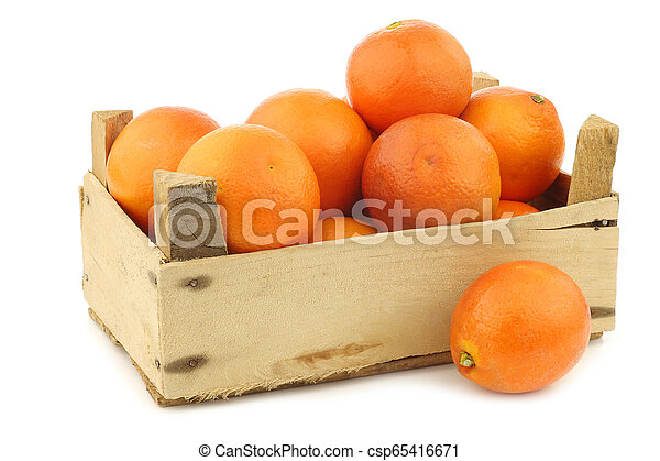 fresh blood oranges in a wooden crate - csp65416671