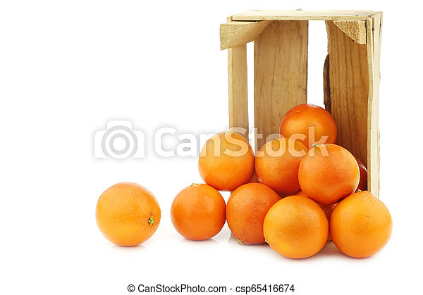 fresh blood oranges in a wooden crate - csp65416674