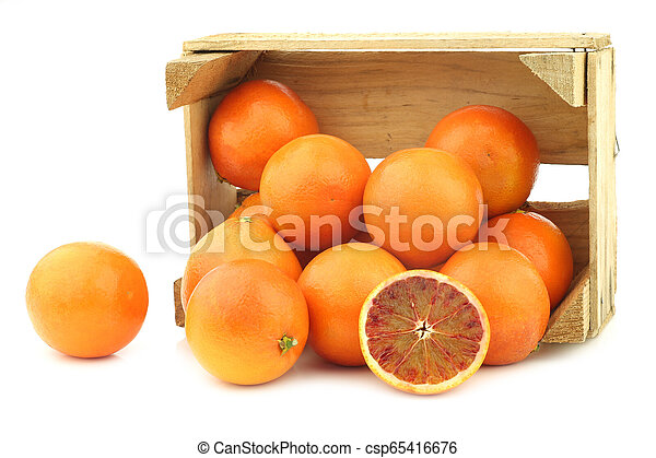 fresh blood oranges in a wooden crate - csp65416676