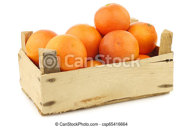fresh blood oranges in a wooden crate - csp65416664