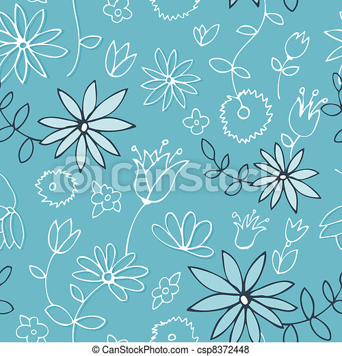 Fresh blue floral pattern - csp8372448