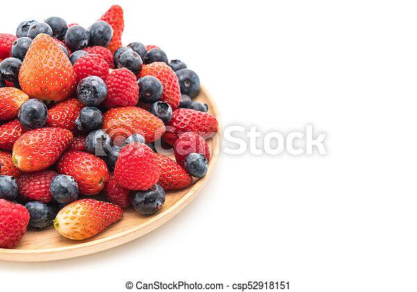 fresh blueberry, strawberry and raspberry on white - csp52918151