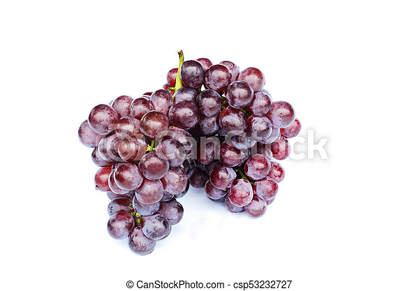 Fresh Bunch of grapes fruits macro close up on white backgrounds - Include clipping path - csp53232727