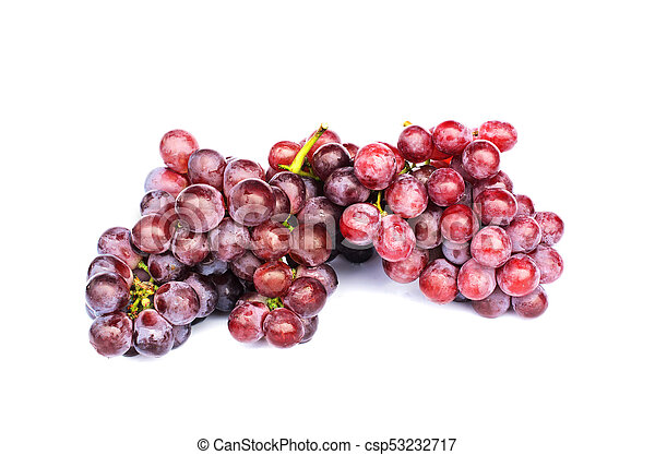 Fresh Bunch of red grapes on white backgrounds - csp53232717