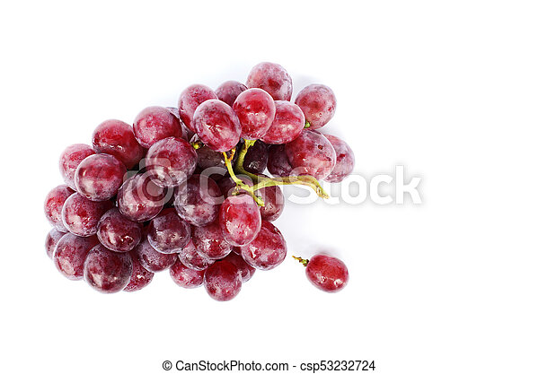 Fresh Bunch of red grapes on white backgrounds include clipping path - csp53232724