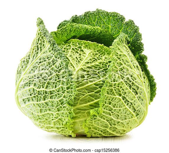 Fresh cabbage isolated on white background - csp15256386