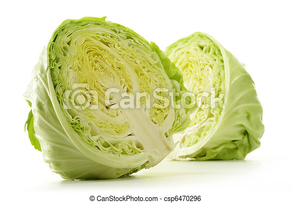Fresh cabbage isolated on white  - csp6470296