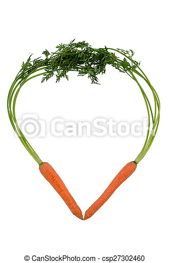 fresh carrots in a heart shape - csp27302460
