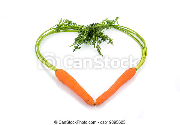 fresh carrots in a heart shape - csp19895625