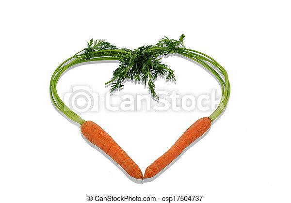 fresh carrots in a heart shape - csp17504737