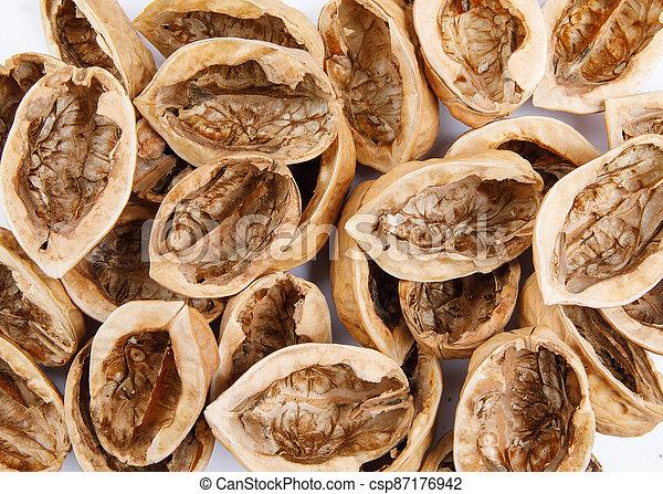 Fresh champignon mushrooms isolated on white background. Organic champignon close up. Side view - csp87176942