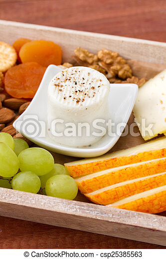 fresh cheese with fruits - csp25385563