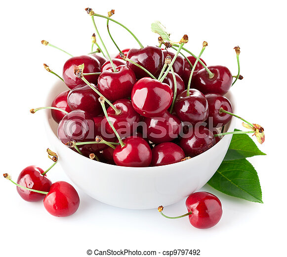 fresh cherry berries with green leaf - csp9797492