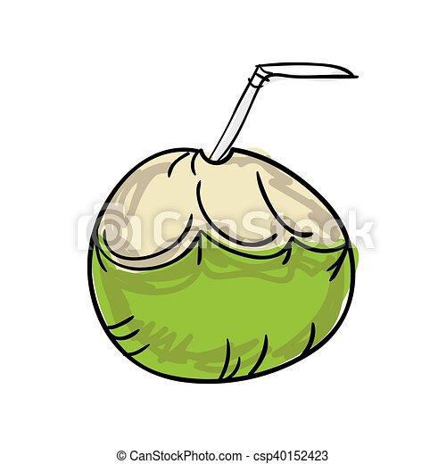 Fresh Coconut Drink With Straw Drawn Design Vector Illustration