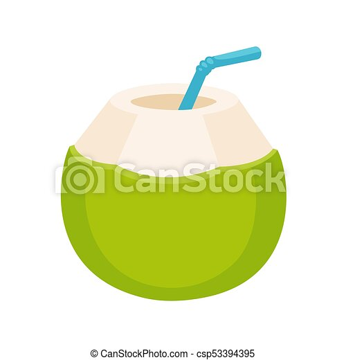 Fresh Coconut Water Drink Drawing Young Green With Drinking Straw Isolated Cartoon Vector Illustration