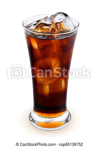 fresh coke in the glass isolated on a white background - csp65136752