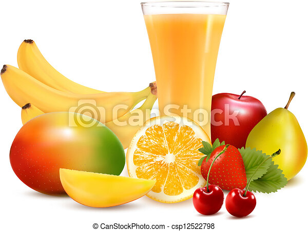 Fresh color fruit and juice. Vector illustration - csp12522798
