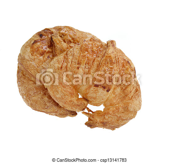 Fresh croissant isolated on white background - csp13141783