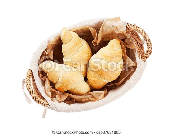 Fresh croissants basket - csp37631885