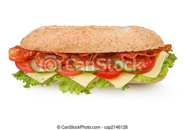 Fresh deli-style salami sandwich isolated on white - csp2146126