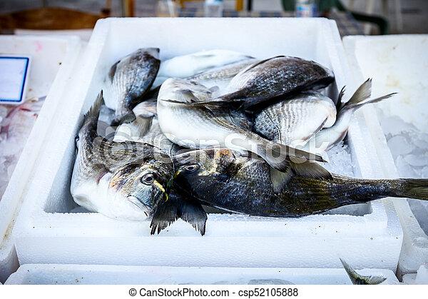 Fresh Dorado in box with ice at the fish market