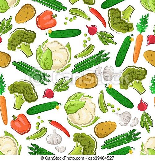 Fresh farm vegetarian food seamless background - csp39464527