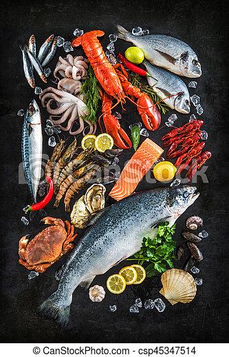 Fresh fish and seafood - csp45347514