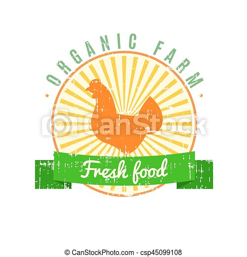 Fresh food logo with chicken label with grunge texture on old paper background - csp45099108